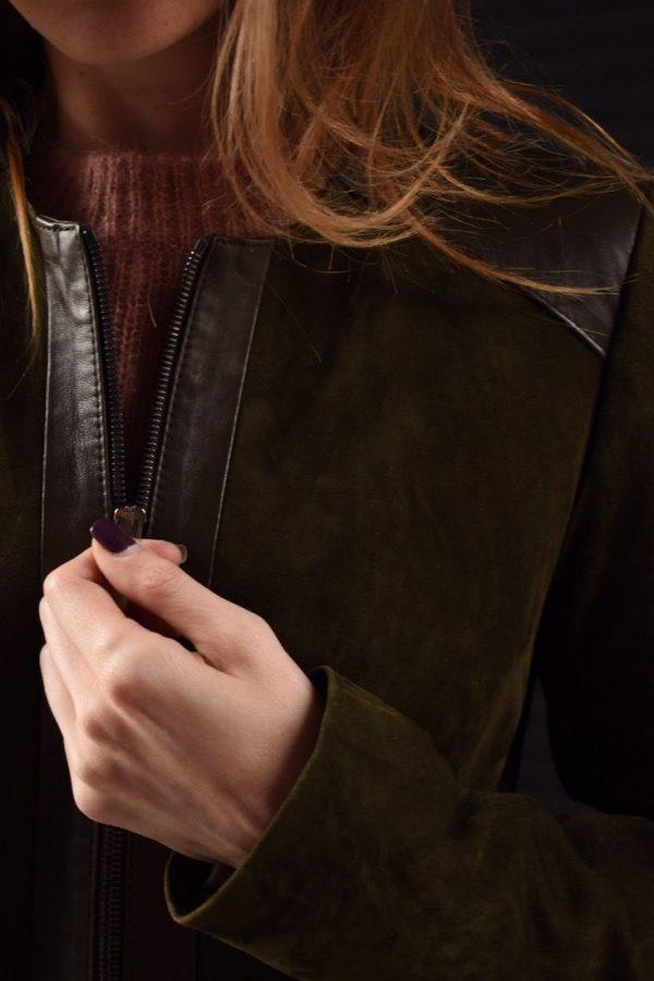 Піджак замшевий, зелений, на блискавці